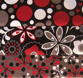 black-white-gray-red-fabric | by nybird(Karen)