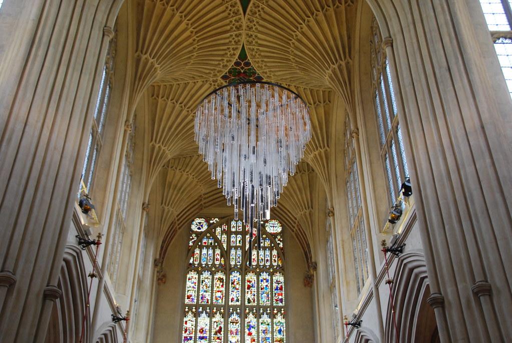 Bath Abbey - Nave Fan Vaulted Ceiling & Modern Chandelier   Flickr