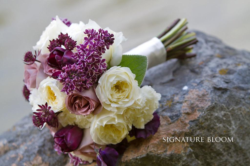 San Jose Wedding Florist White Purple Vintage Bouquet