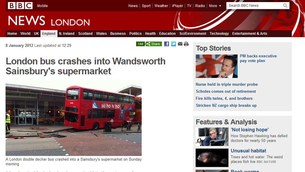 Bus crashes into Wandsworth Sainsburys | www bbc co uk/news