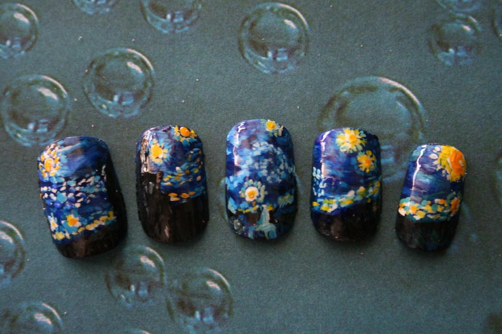 Starry Night Nail Art Short Handpainted Starry Night Nai Flickr