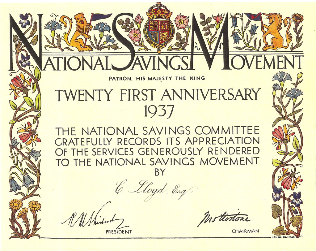 national savings movement 21st anniversary certificate flickr