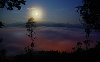 Moon Set Over Thick Fog | by wkwoo