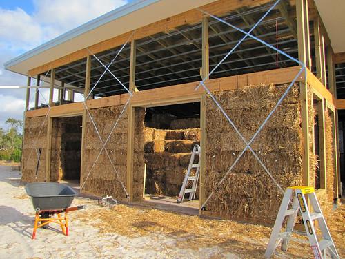 North face of house in straw bales strawbale house build for Straw bale house cost per square foot