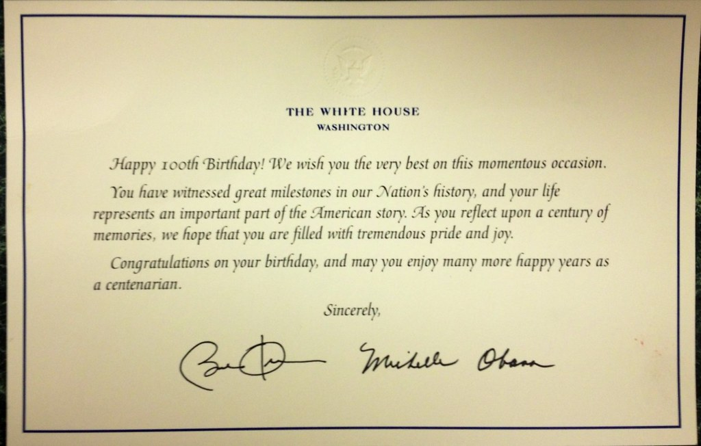 mom billie j l baird letter from president and mrs obama recognizing her 100th birthday