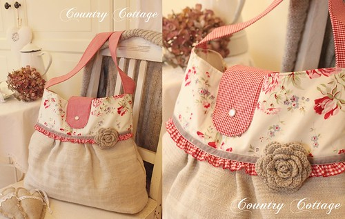 Made with antique linen: a new bag! | by Country Cottage