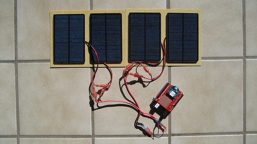 Four panel solar array two v panels in series