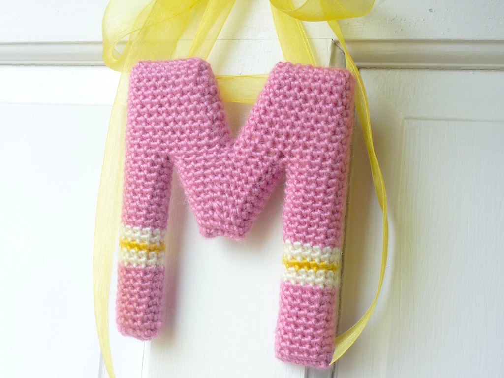 Crochet Wall Letter M | Crocheted around a wooden letter M. | Flickr