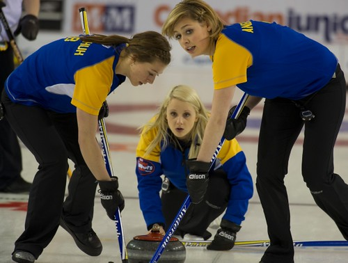Napanee, ON Feb 11 2011 M&M Canadian Juniors AB Skip Jocelyn Peterman, Second Rebecca Konschuh & Lead Kristine Anderson Michael Burns Photo Ltd. | by seasonofchampions