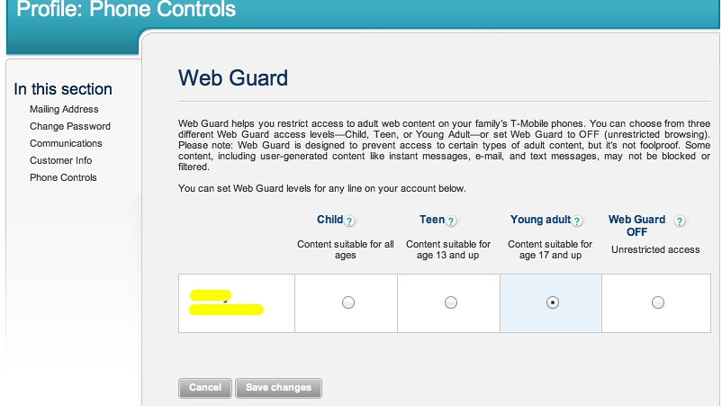 T mobile web guard