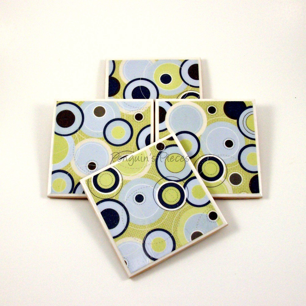 Recycled Ceramic Tile Coasters Blue And Green Bright Fu Flickr