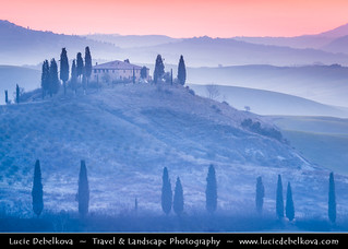 Italy - Tuscany - Val d'Orcia before Sunrise - UNESCO World Heritage Site | by © Lucie Debelkova / www.luciedebelkova.com