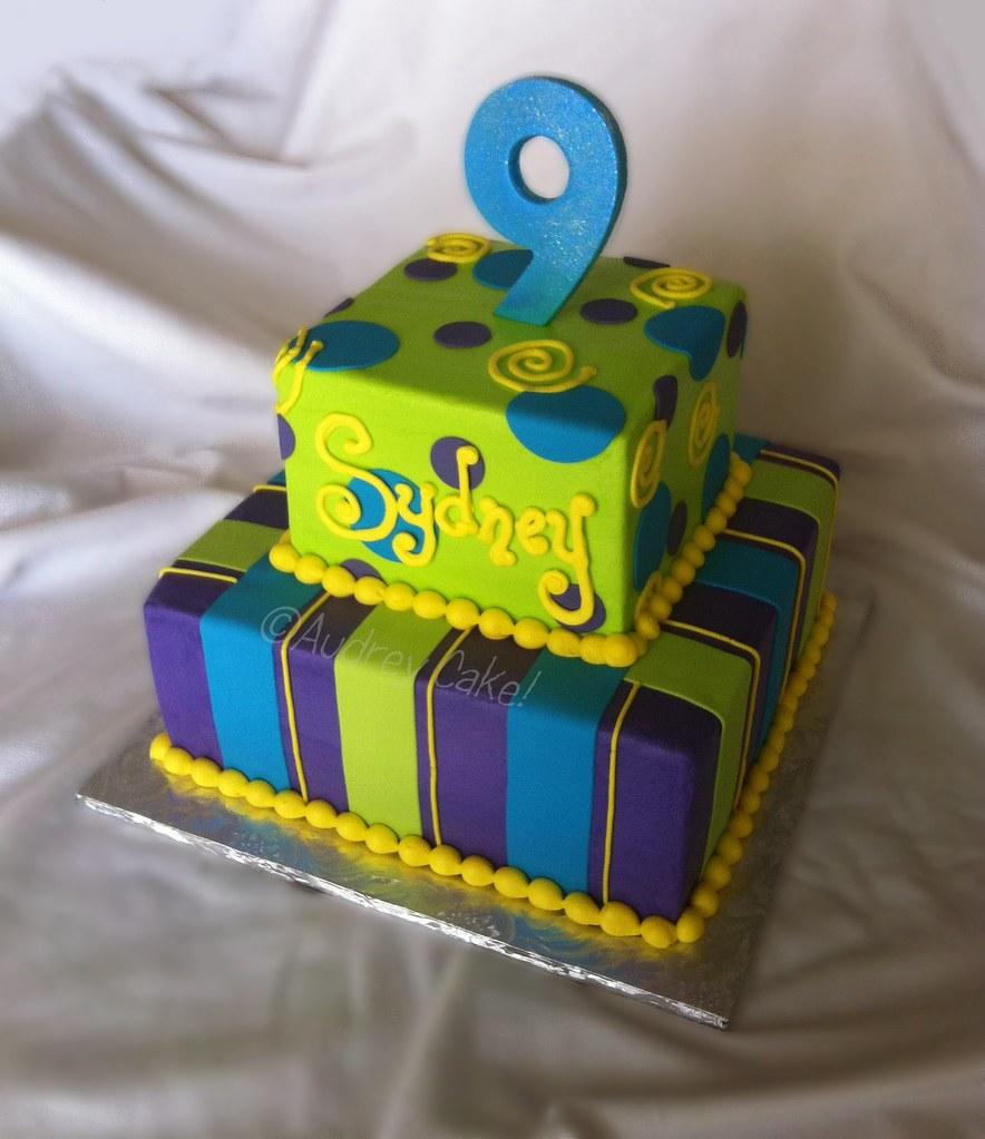 Purple Aqua Lime Birthday Cake