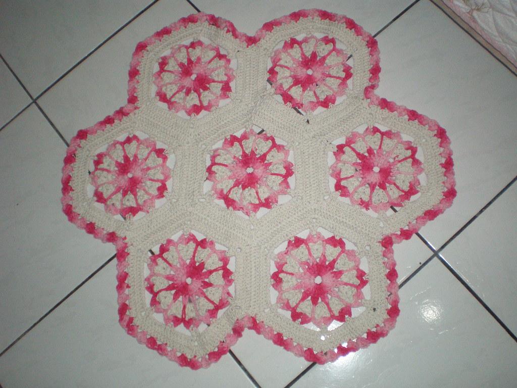 Tapete Em Croch Barbante Cru E Barroco Rosa Evelise Matias Biondo  -> Fotos De Tapete De Croche