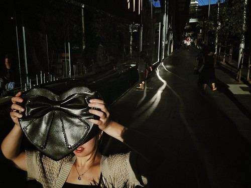 Hiding from the light, Market St, Sydney
