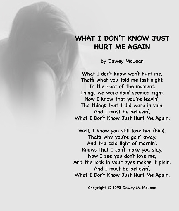 What I Dont Know Just Hurt Me Again My Song What I Don Flickr