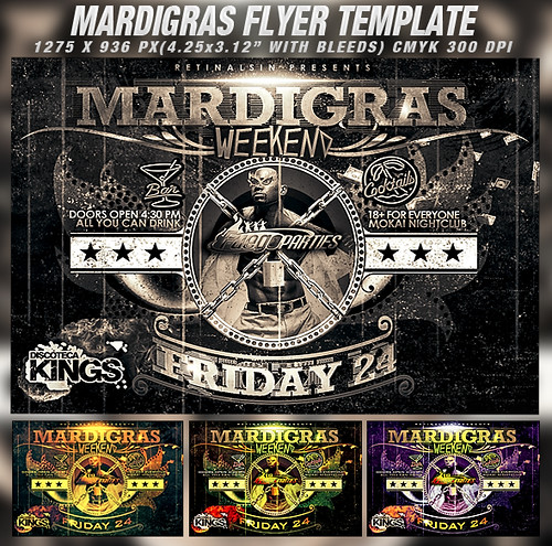 PSD Mardigras Weekend Flyer Template | by retinathemes