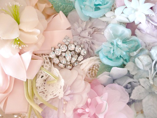 Crown pin and millinery flowers | by seaside rose garden