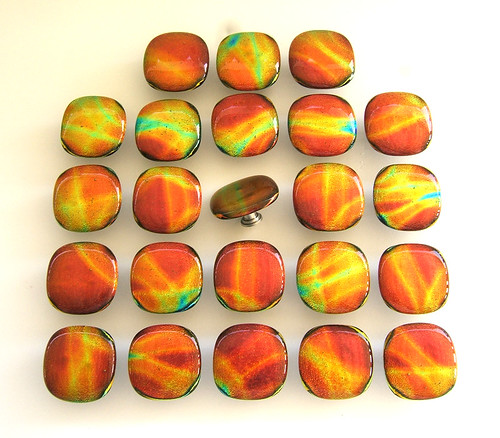 Red Orange Yellow Round Dichroic Glass Knobs | by UNEEK GLASS FUSIONS