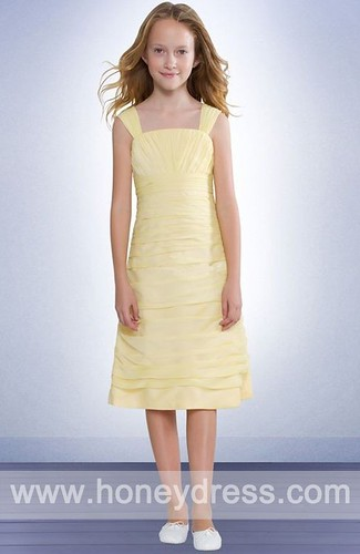 A-line Square Chiffon Tea-length Junior Bridesmaid Dresses 06453-HoneyDress.com | by HoneyDress.com