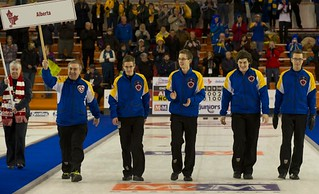 Napanee, ON Feb 11 2011 M&M Canadian Juniors Team Alberta Skip Brendan Bottcher, Thrid Evan Asmussen, Second Landon Bucholz, Lead Bryce Bucholz. Michael Burns Photo Ltd. | by seasonofchampions