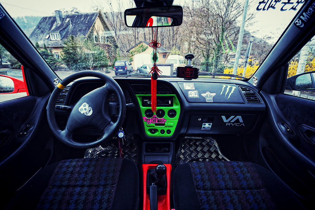 car interior shot | peugeot 306 custom painting and stickers… | flickr