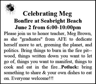 The June 2007 AFE Newsletter announcement for Meg Brown's beach-bonfire retirement party | by Tané Tachyon