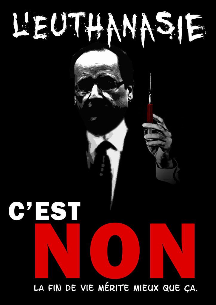 Affiche dénoncant le projet PS de légalisation de l'euthanasie présenté par François Hollande pour les présidentielles 2012. Image autorisé sans but commercial