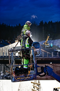 Workers lifted above SR 520 | by WSDOT