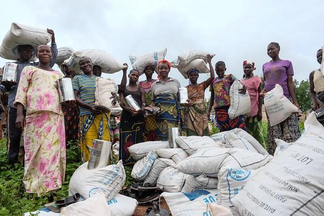 Seeds, hand tools and food distribution