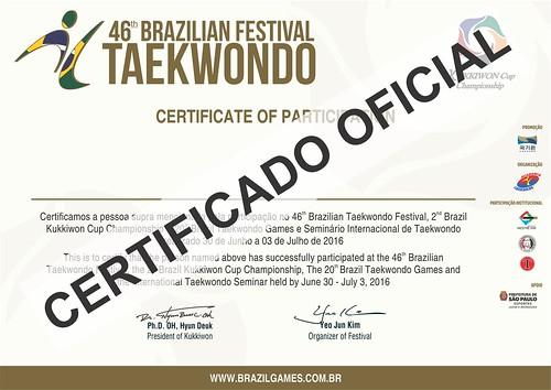 Certificado KUKKIWON CUP E BRAZIL GAMES 2016
