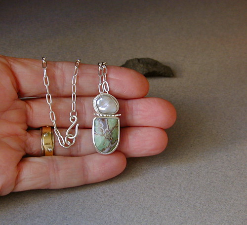African petrified wood, freshwater pearl, sterling silver and 18kt gold | by betsy.bensen