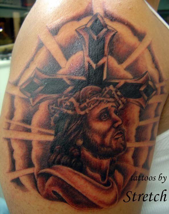 Jesus On Cross Tattoo On Arm