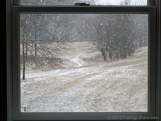 Snowfall through the upstairs windows 5 - FarmgirlFare.com | by Farmgirl Susan
