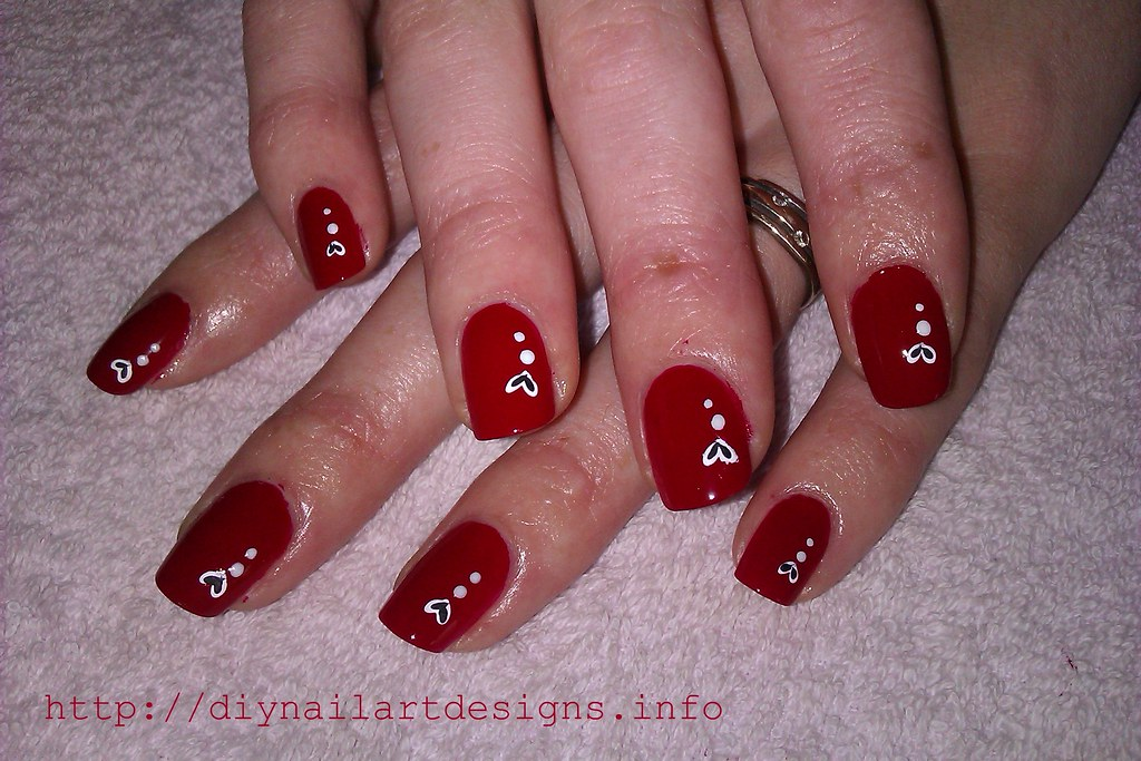 DIY Nail Art Designs: Fiery Red Polish with Hand-Painted W… | Flickr