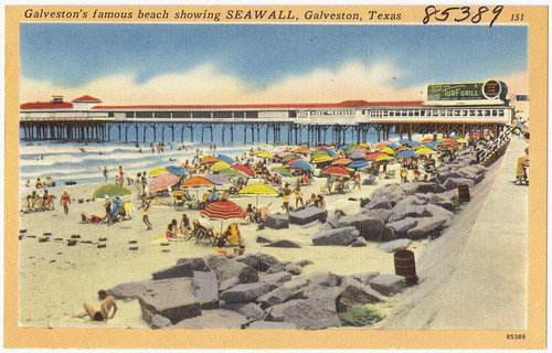 Galveston's famous beach showing Seawall, Galveston, Texas | by Boston Public Library