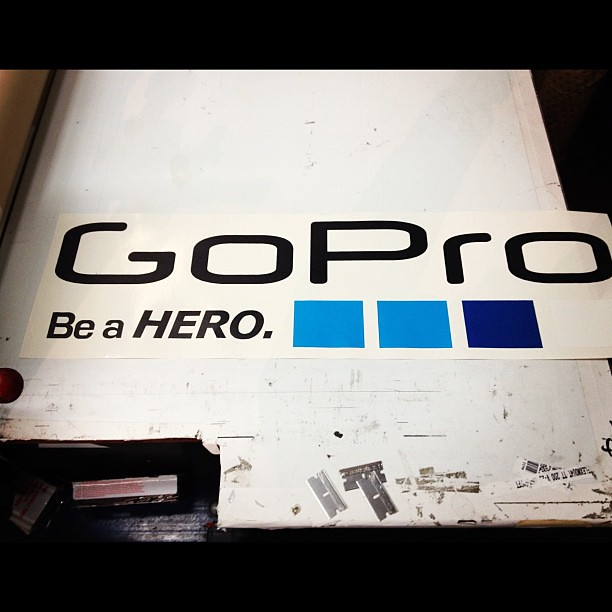 Gopro die cut stickers about to be laminated by joshcornett