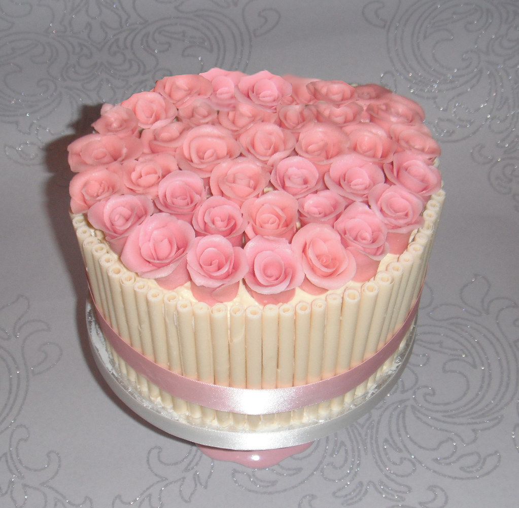 White Chocolate And Pink Roses Birthday Cake Charlottescup Flickr