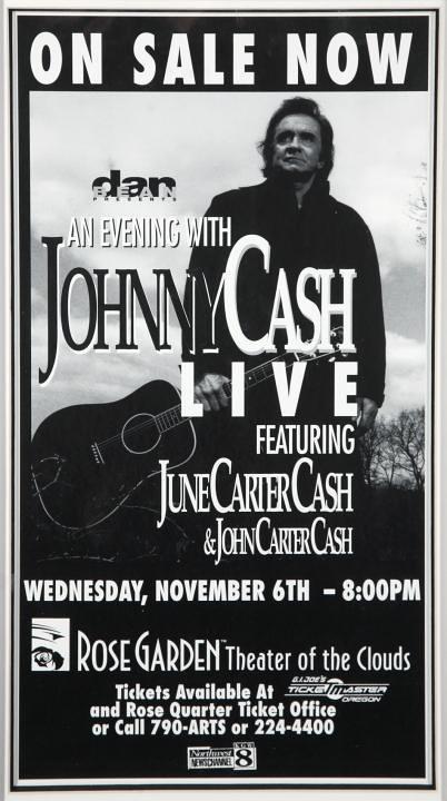Johnny Cash 1996 Oregon Concert Ad Poster