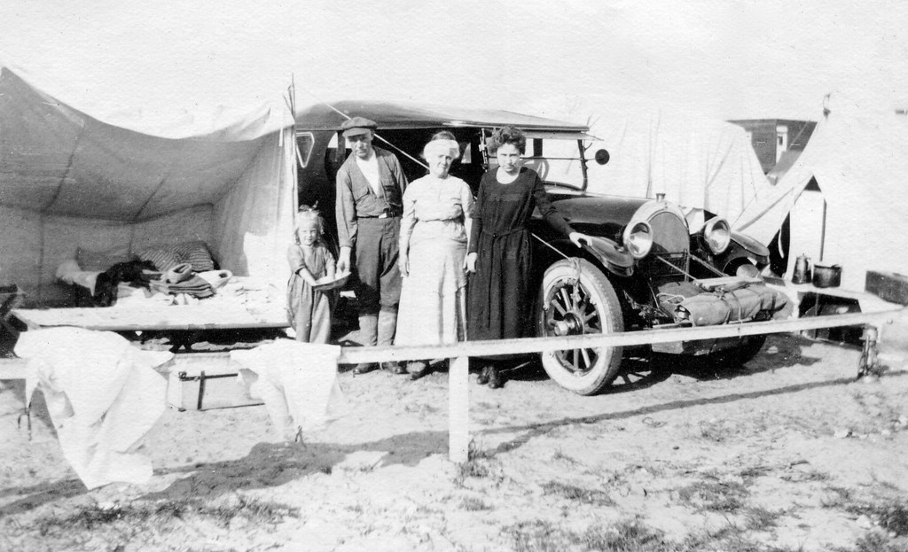 Before motels: car camping, c. 1920 | Probably in Southern C… | Flickr