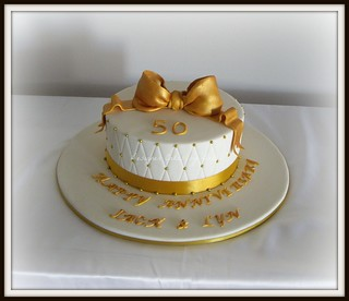 Golden Wedding Anniversary Cake | by Designer Cakes by Deb