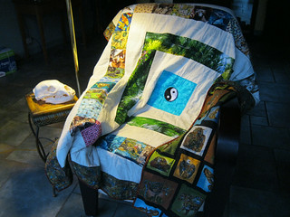 Quilt meditation chair and bear skull | by smileycreek