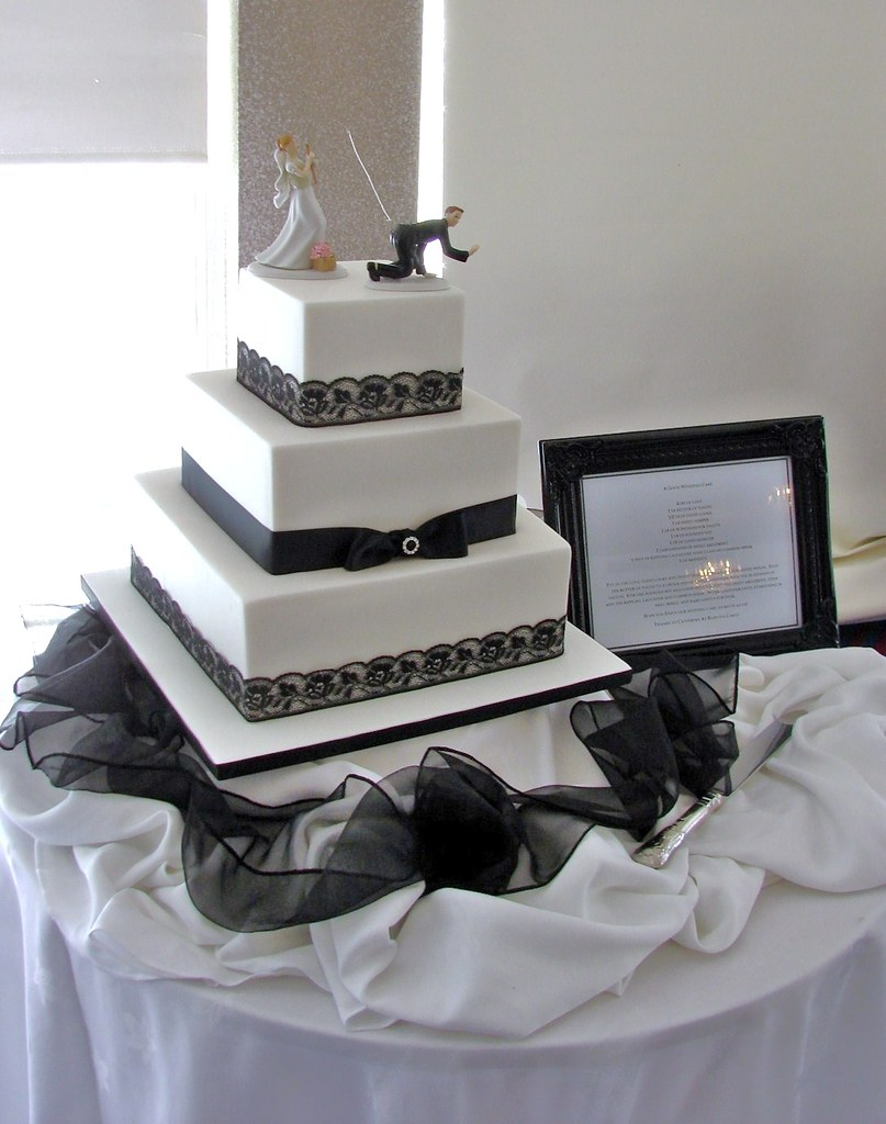 Elegant black and white 3 tier wedding cake top tier car flickr elegant black and white 3 tier wedding cake by rubyteacakes junglespirit Image collections