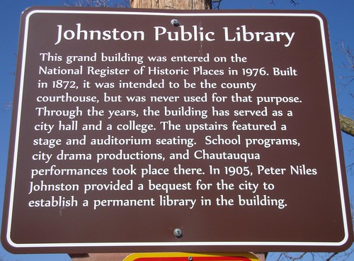 Johnston Public Library Marker (Baxter Springs, Kansas) | by courthouselover