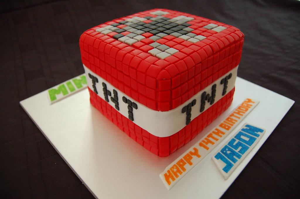 Minecraft Tnt Block Birthday Cake Sponge Cake With Vanilla Flickr