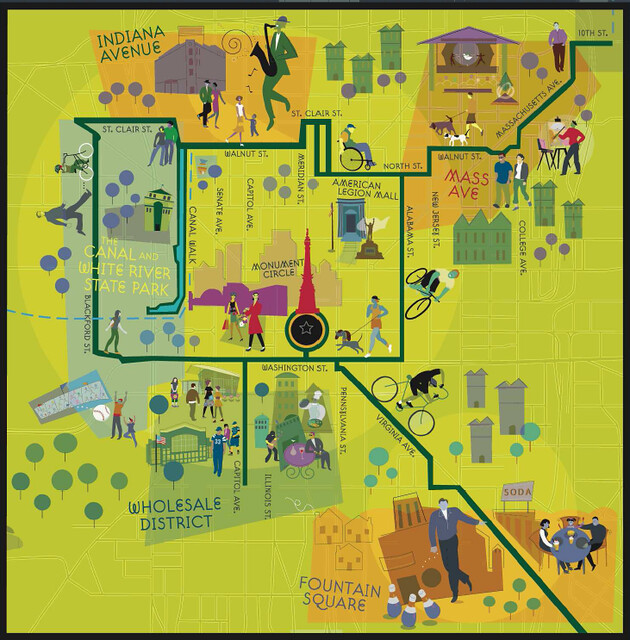 Indianapolis Cultural Trail stylized map