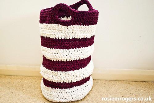 Crochet Fabric Rag Washing Basket A Little While Ago I