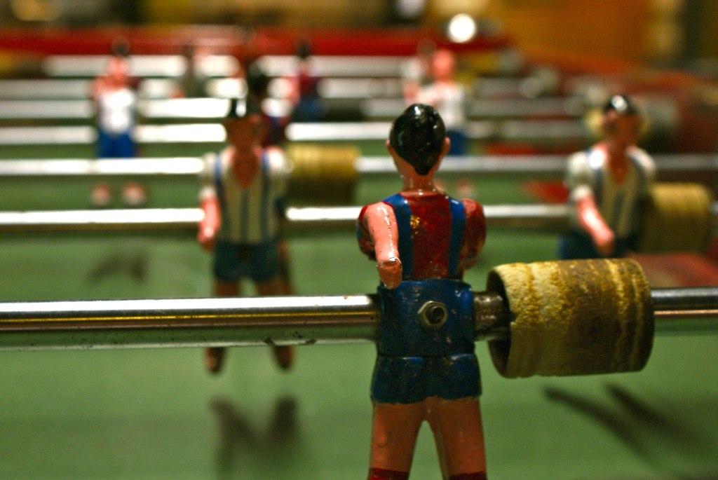 Babyfoot aux couleurs du FC Barcelone dans le musée de Catalogne à Barcelone.