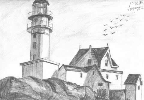 Aupoman scenery drawing solid house tower by www art
