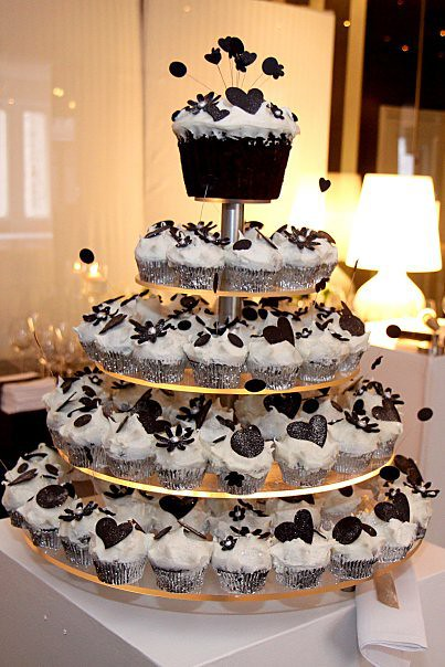 Wicked Chocolate black & white wedding cupcake tower iced … | Flickr